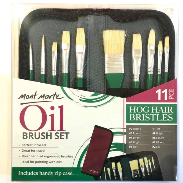 Oil Brush Set in Wallet 11pce