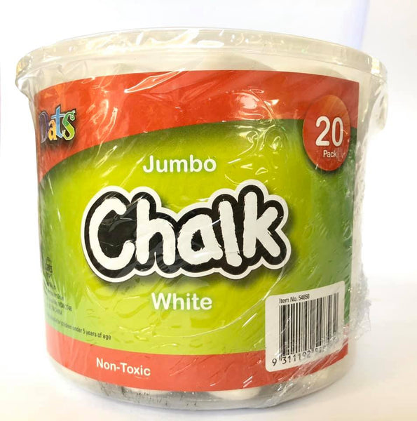 Chalk in Bucket White Jumbo 20pk