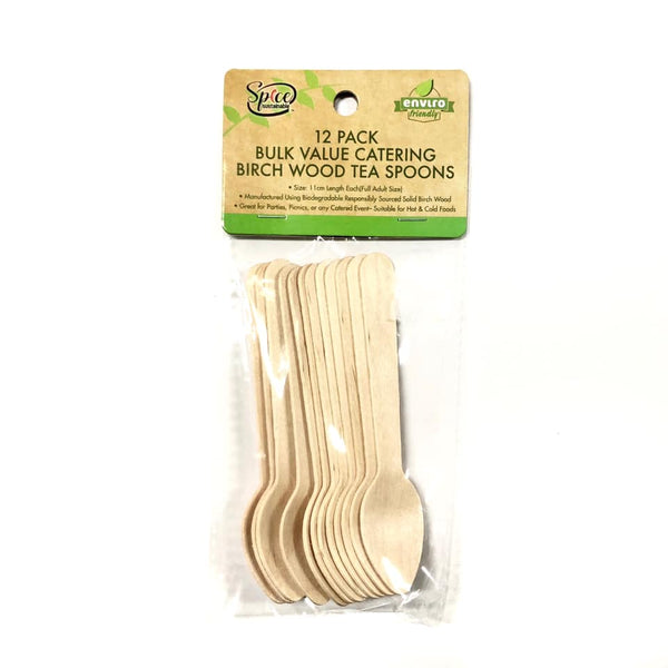 Enviro Disposable Cutlery Wooden Teaspoon 12pk