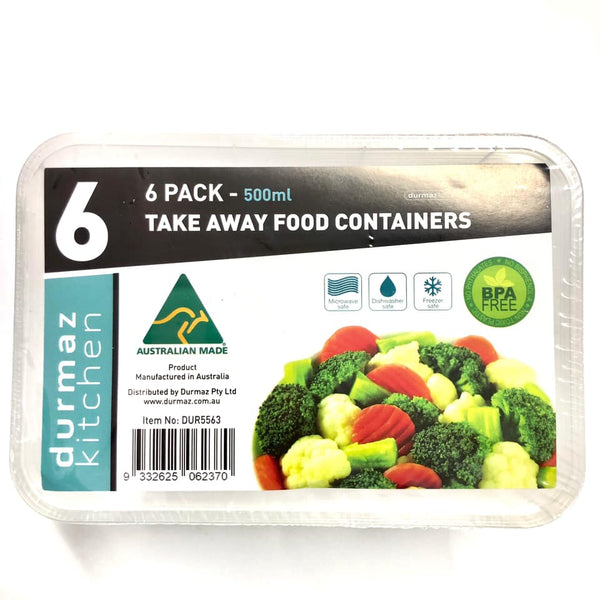 Takeaway Food Container 500ml 6pk