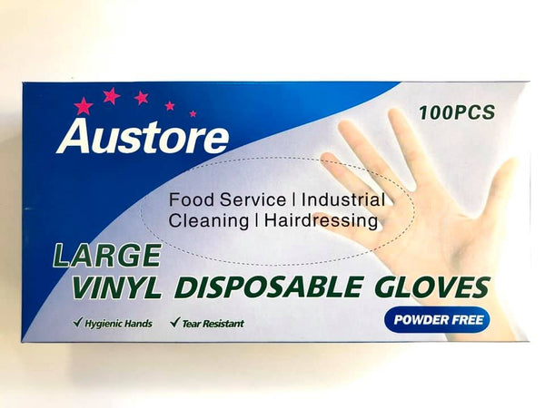 Disposable Vinyl Gloves 100pk (Blue Size:L)