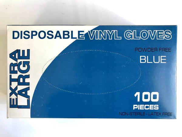Disposable Vinyl Gloves 100pk (Blue Size:XL)