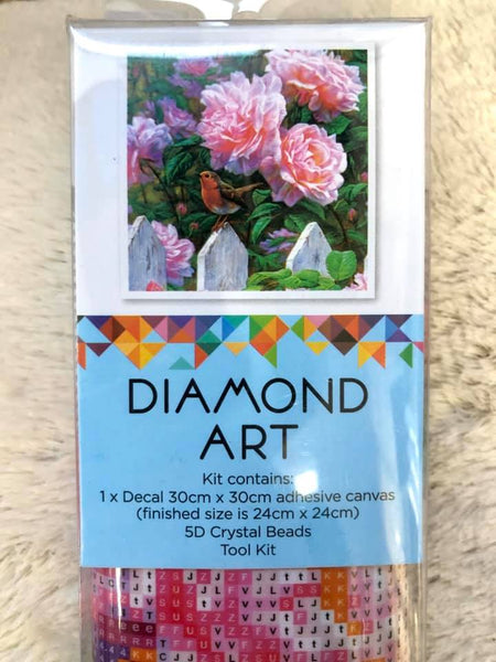 Diamond Art 30x30cm Pastel Pink Rose with Bird