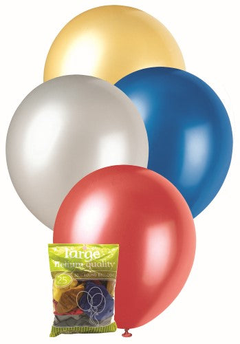 Balloons 25pk Multi Coloured Metallic