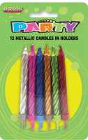 Birthday Candles Metallic w/Base 12pk