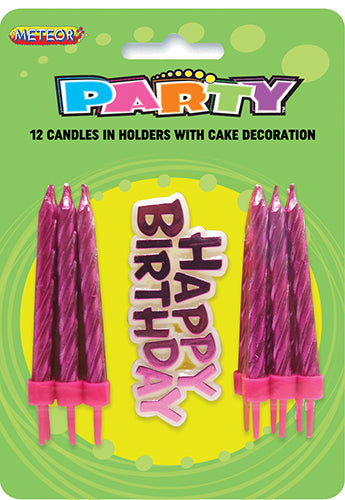 Birthday Candles 12pk w/Birthday Sign Pink