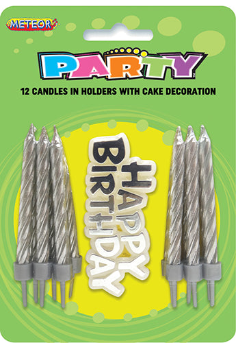 Birthday Candles 12pk w/Birthday Sign Silver