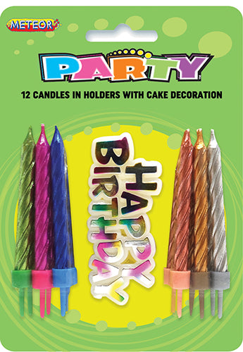 Birthday Candles 12pk w/Birthday Sign Multi Colour