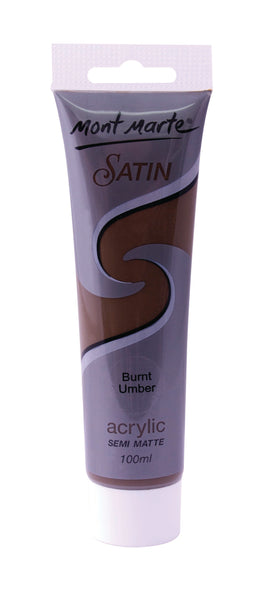 Paint Satin Acrylic 100ml Burnt Umber