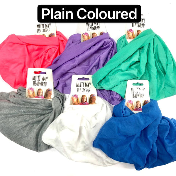 Head Wrap Multi Way Plain Coloured