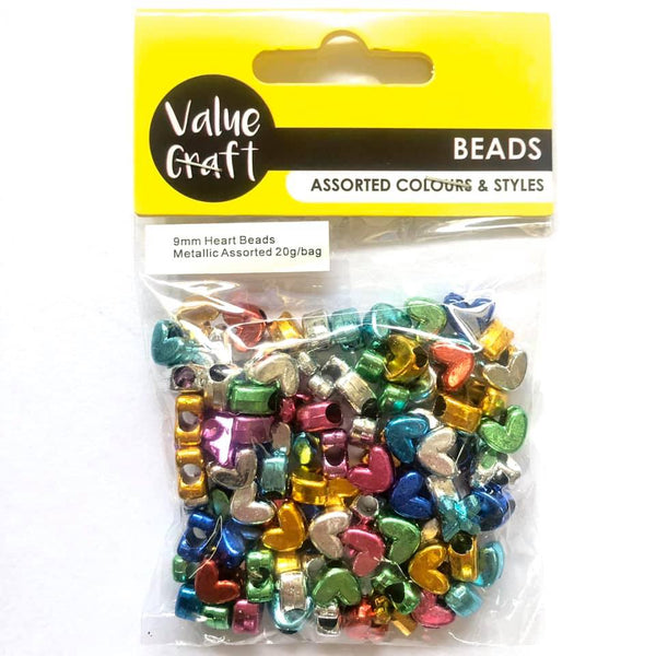 Bead Metallic Heart 9mm Assorted 20g