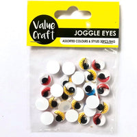 Joggle Eyes w/Eyelashes Multi 30pcs