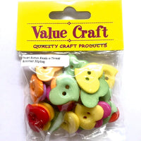 Bead Heart Buttons Assorted Colours 30g
