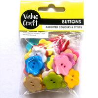 Bead Flower Buttons Assorted Colours 30g