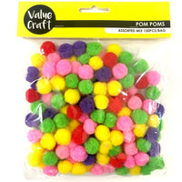 Pompom 15mm Mixed 150pcs