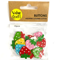 Wooden Button Strawberry 15pcs