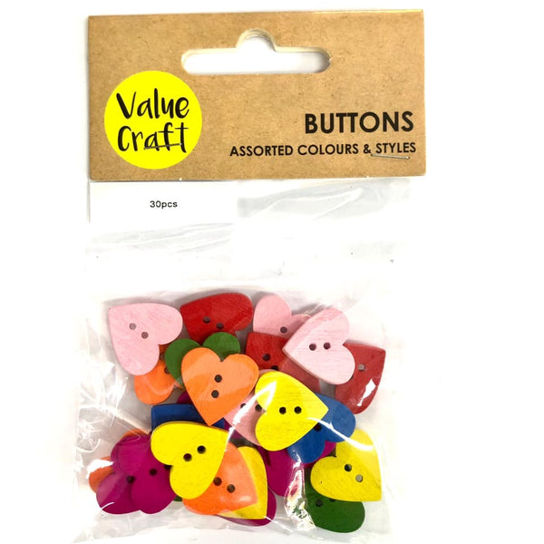Wooden Button Hearts 15mm 30pc