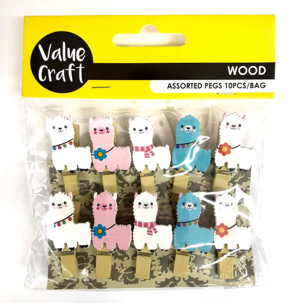 Pegs Craft Mini W/Llama 10pk