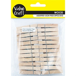 Wooden Pegs Small Natural 24pcs