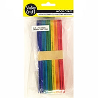 Wooden Icy Pole Sticks Jumbo Coloured 30pcs