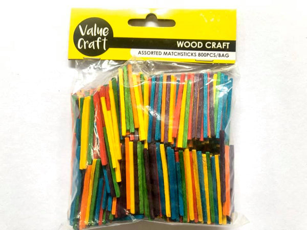 Wooden Matchsticks Coloured 800pcs
