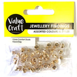 Earring Comfort Studs Gold 15mm 50pcs