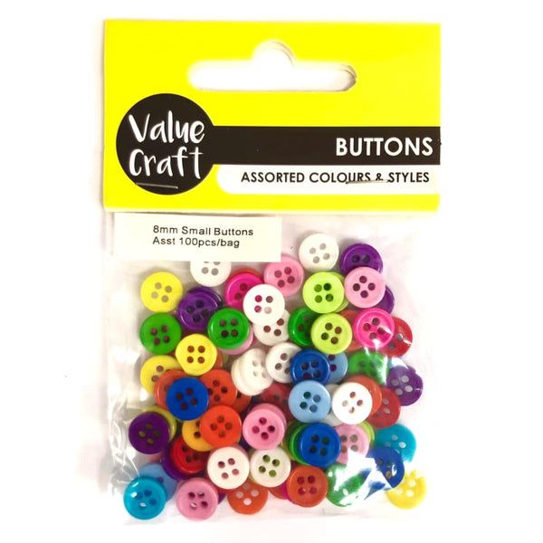 Buttons Small 8mm Multi Colour 100pcs