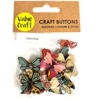 Wooden Buttons Butterfly 20pc