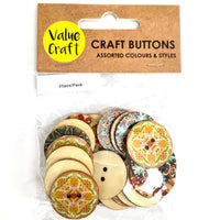 Wooden Buttons Moroccan 20pc