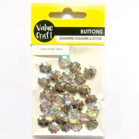 Buttons Flower Crystal 15mm 30pcs