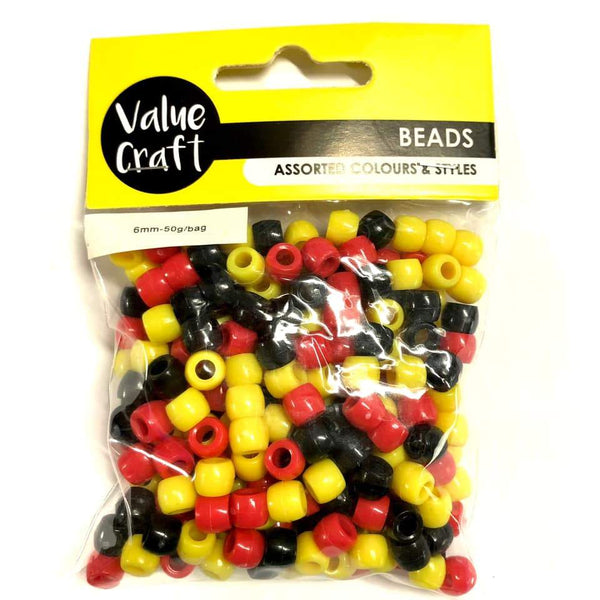 Bead 6mm Pony Bead RYB 50g