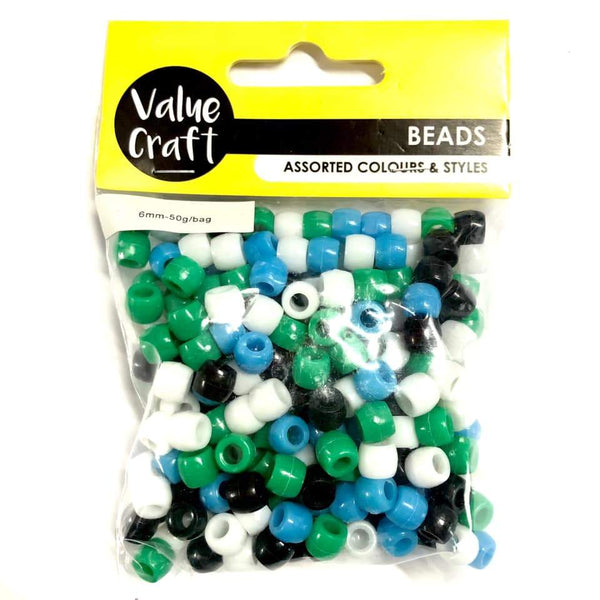 Bead 6mm Pony Bead BGWB Mix 50g