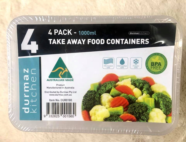 Takeaway Food Container 1000ml 4pk