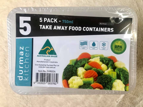 Takeaway Food Container 750ml 5pk
