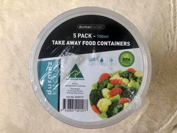 Takeaway Food Container Round 700ml 5pk