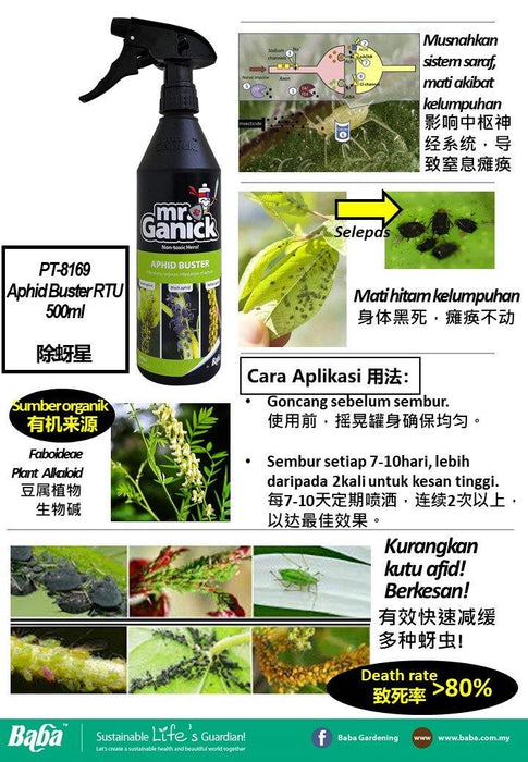 Mr Ganick Aphid Buster RTU (500ml)-Organic Fertilizer & Pesticide-Baba E Shop