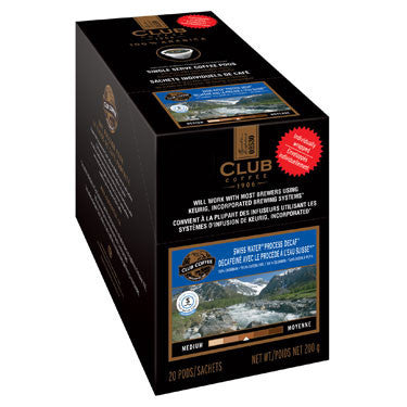 Club Coffee - 100% Colombian Swiss Water® Process Decaf Overwrap 20ct AromaCup™ Single Serve Coffee 20ct - Compostable