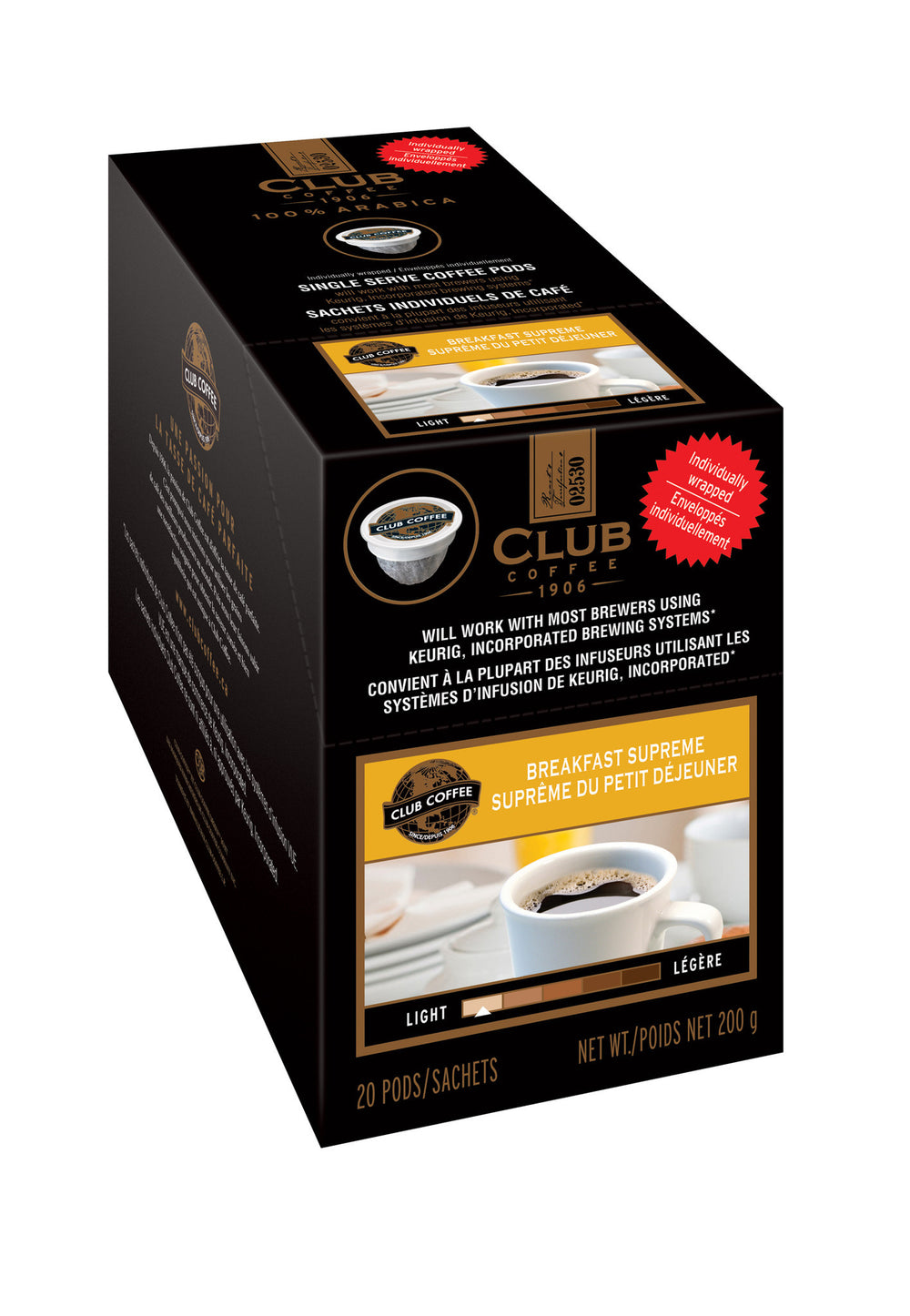 Club Coffee - Breakfast Supreme AromaCup™ Single Serve Overwrap 20ct - Compostable