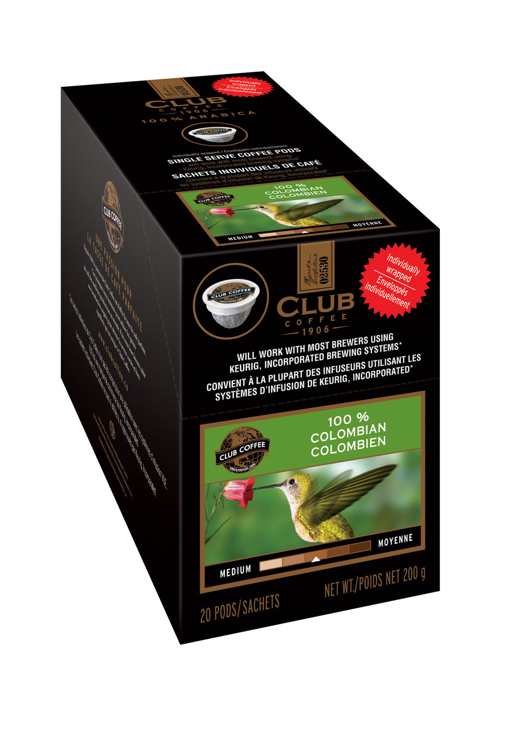 Club Coffee - 100% Colombian AromaCup™ Single Serve Overwrap 20ct - Compostable