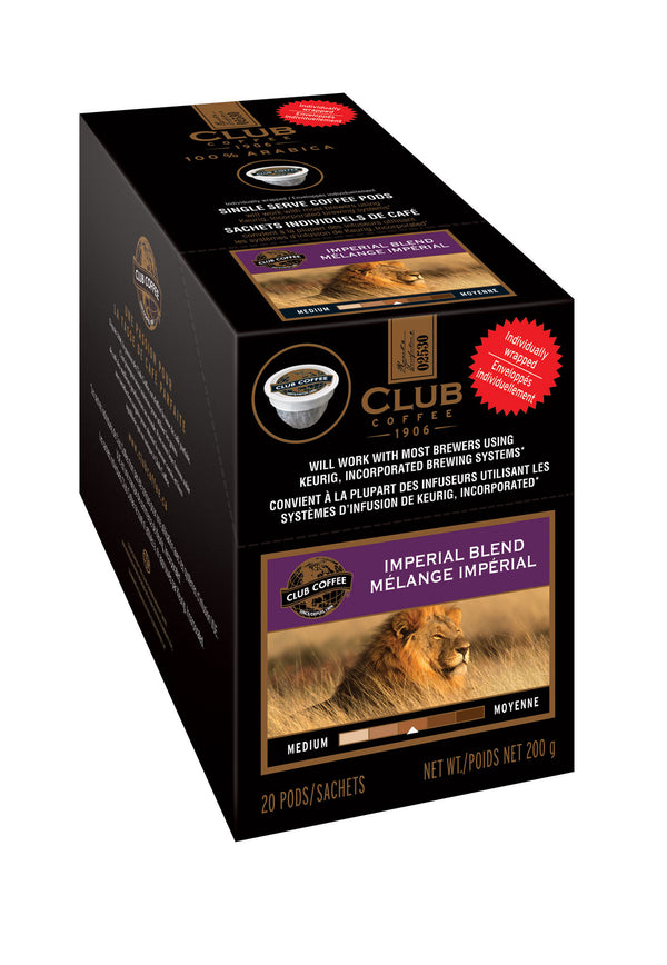 Club Coffee - Imperial Blend AromaCup™ Single Serve Overwrap 20ct - Compostable