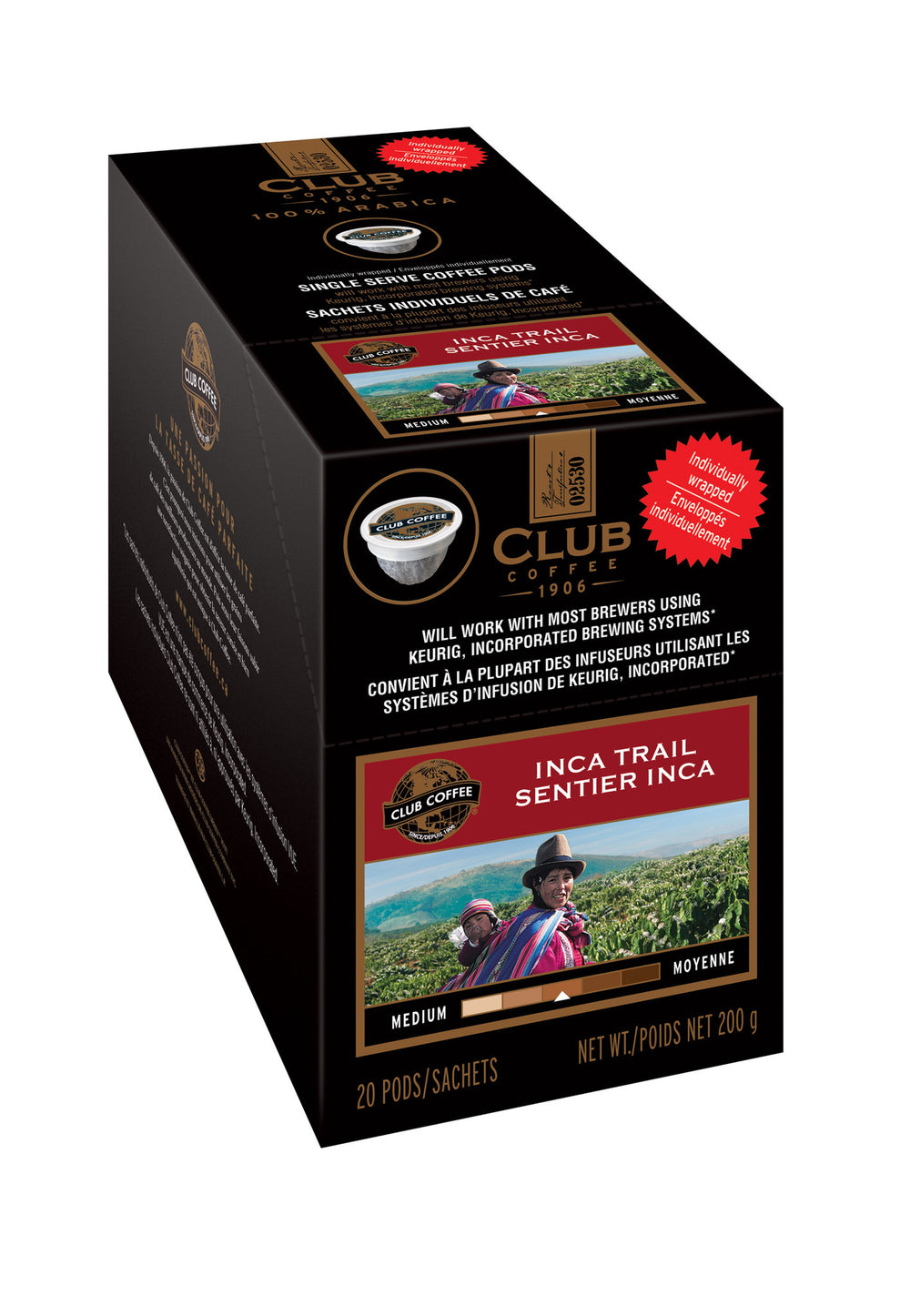Club Coffee - Inca Trail AromaCup™ Single Serve Overwrap 20ct - Compostable