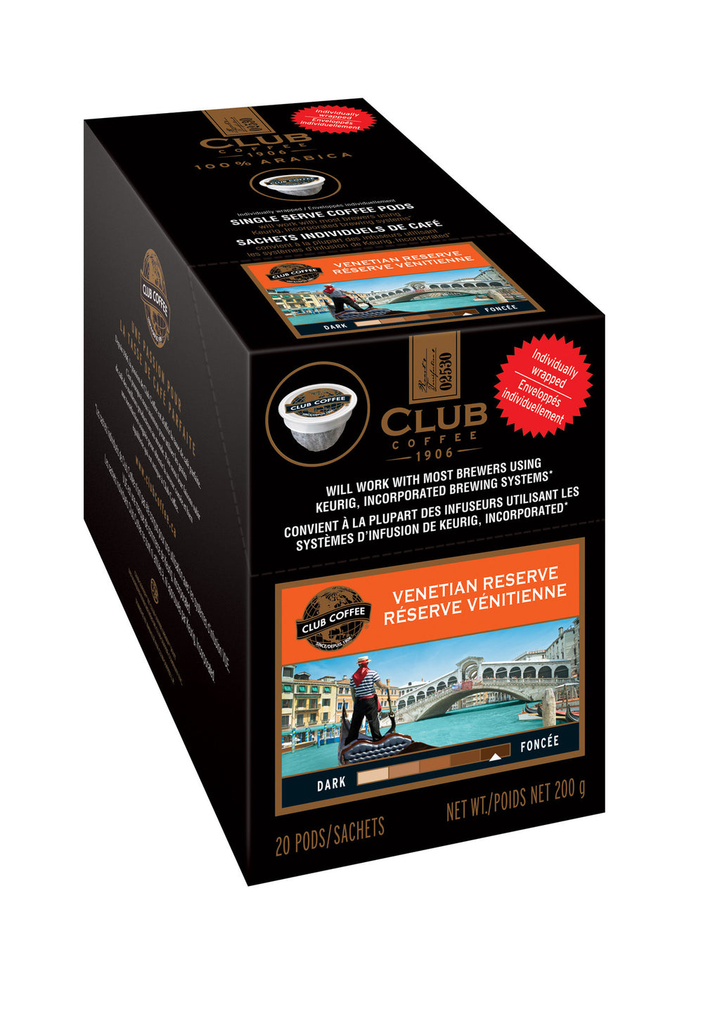 Club Coffee - Venetian Reserve AromaCup™ Single Serve Overwrap 20ct - Compostable