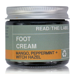 green foot cream in glass 60ml jar with aluminium lid