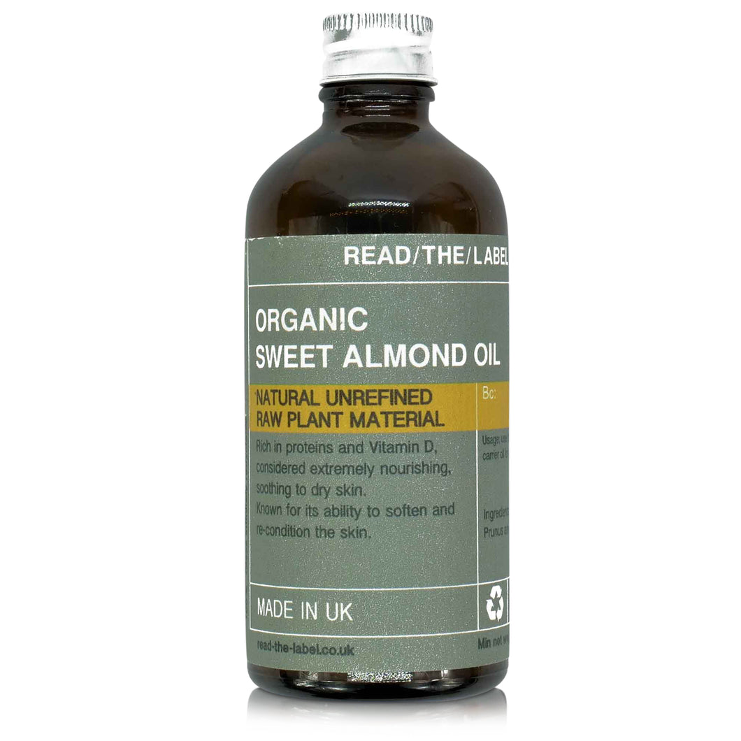 almond oil organic in brown 100ml apothecary style bottle