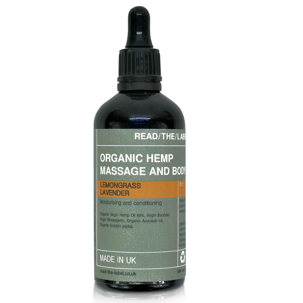 glass bottle dropper organic hemp massage oil