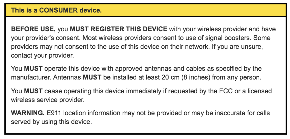 FCC consumer signal booster label