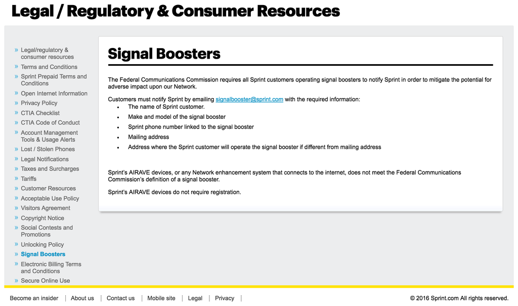 Sprint signal booster registration page