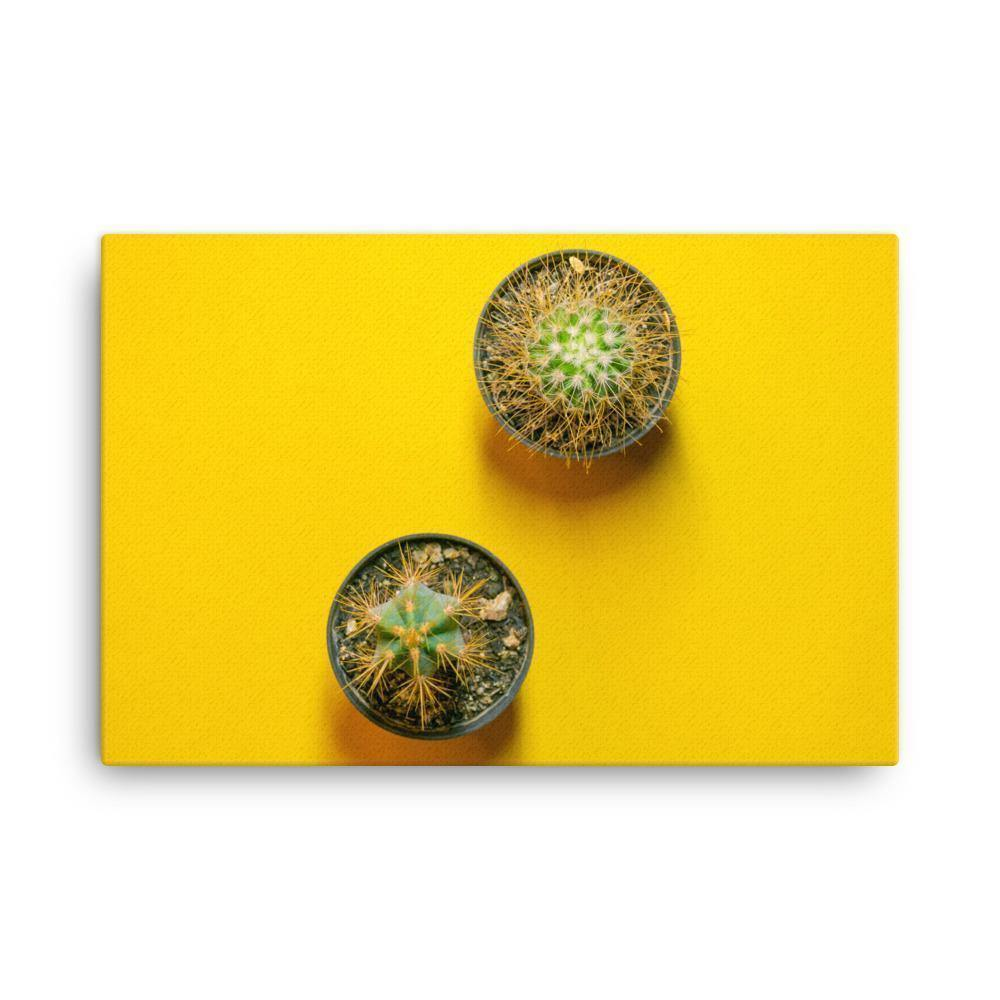 Cactus On Yellow Table Canvas Art Print - Artouchmedia