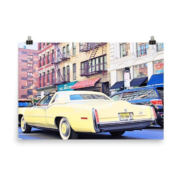 Cruising Yellow Lincoln Luster Art Print - Artouchmedia