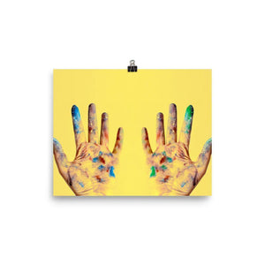 Yellow Hands Lustre Art Print - Artouchmedia -